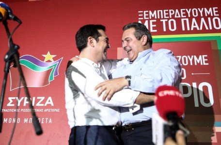 Leader of the Syriza party Alexis Tsipras delivers a speech after SYRIZA`s victory at the general election in Athens, Greece, September 20, 2015