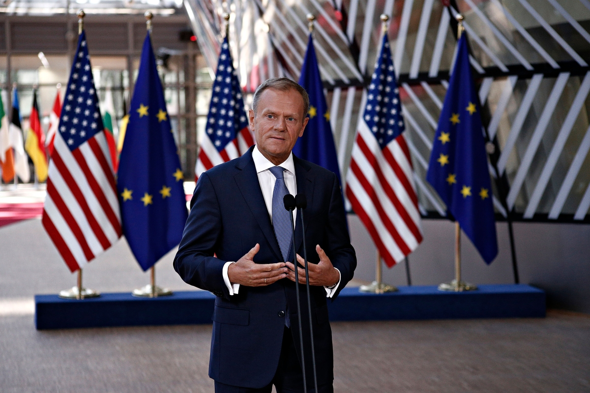 European Council President Donald Tusk gives a press statement after a meeting of EU leaders with US President Donald Trump at the European Council in Brussels, Belgium May 25, 2017