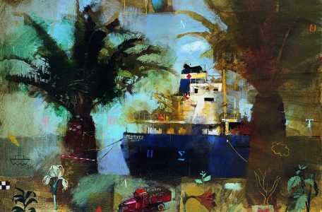 Γιάννης Aδαμάκης, «Φοίνικες στο λιμάνι», ακρυλικό σε μουσαμά, 50x70 εκ.