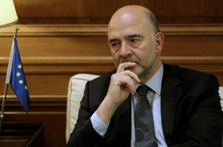European Economic and Financial Affairs Commissioner Pierre Moscovici meets with Greek Prime Minister Alexis Tsipras (not pictured) at the Maximos Mansion in Athens, Greece
