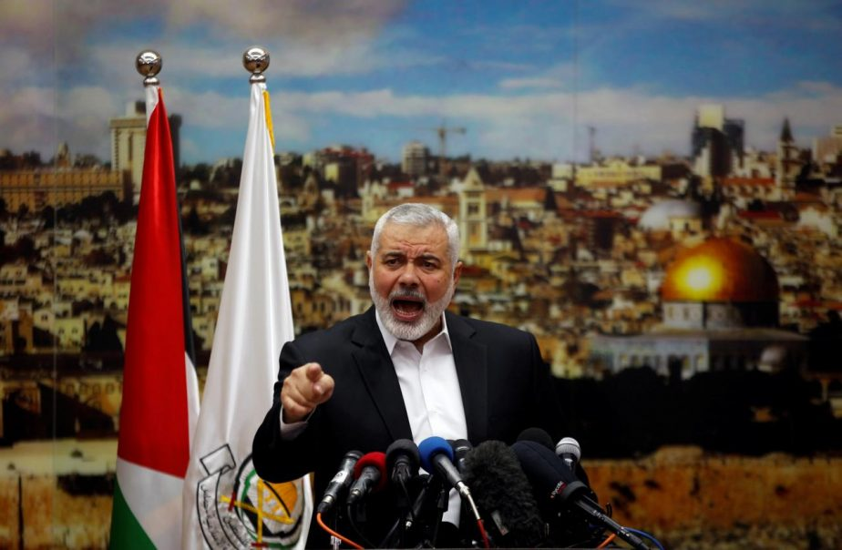 Hamas Chief Ismail Haniyeh gestures as he delivers a speech over U.S. President Donald Trump's decision to recognize Jerusalem as the capital of Israel, in Gaza City