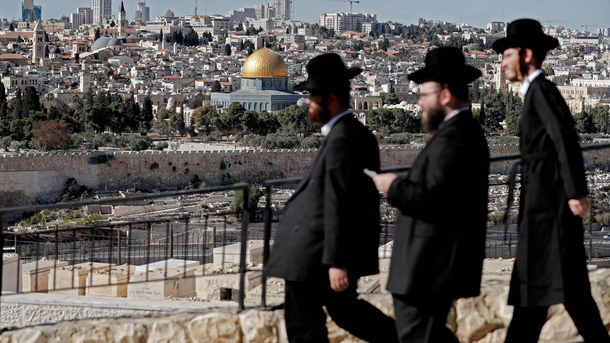 Ultra Orthodox Jews are seen walking in