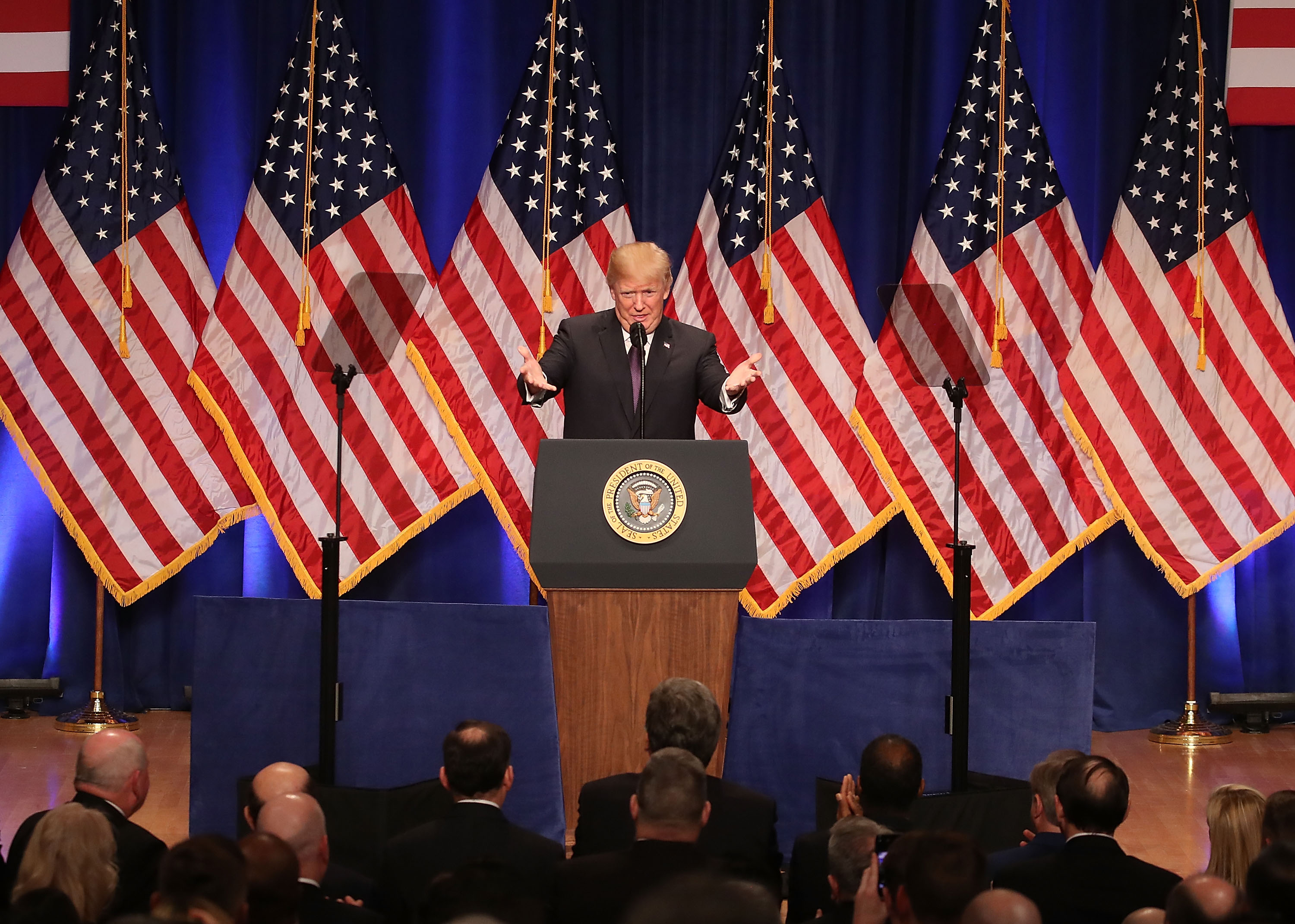 President Trump Speaks On National Security Strategy At The Ronald Reagan Amphiheater