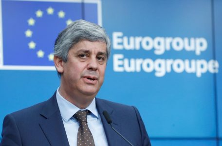 Portugal's Finance Minister Mario Centeno and president of the Eurogroup speaks at the at the European Commission in Brussels
