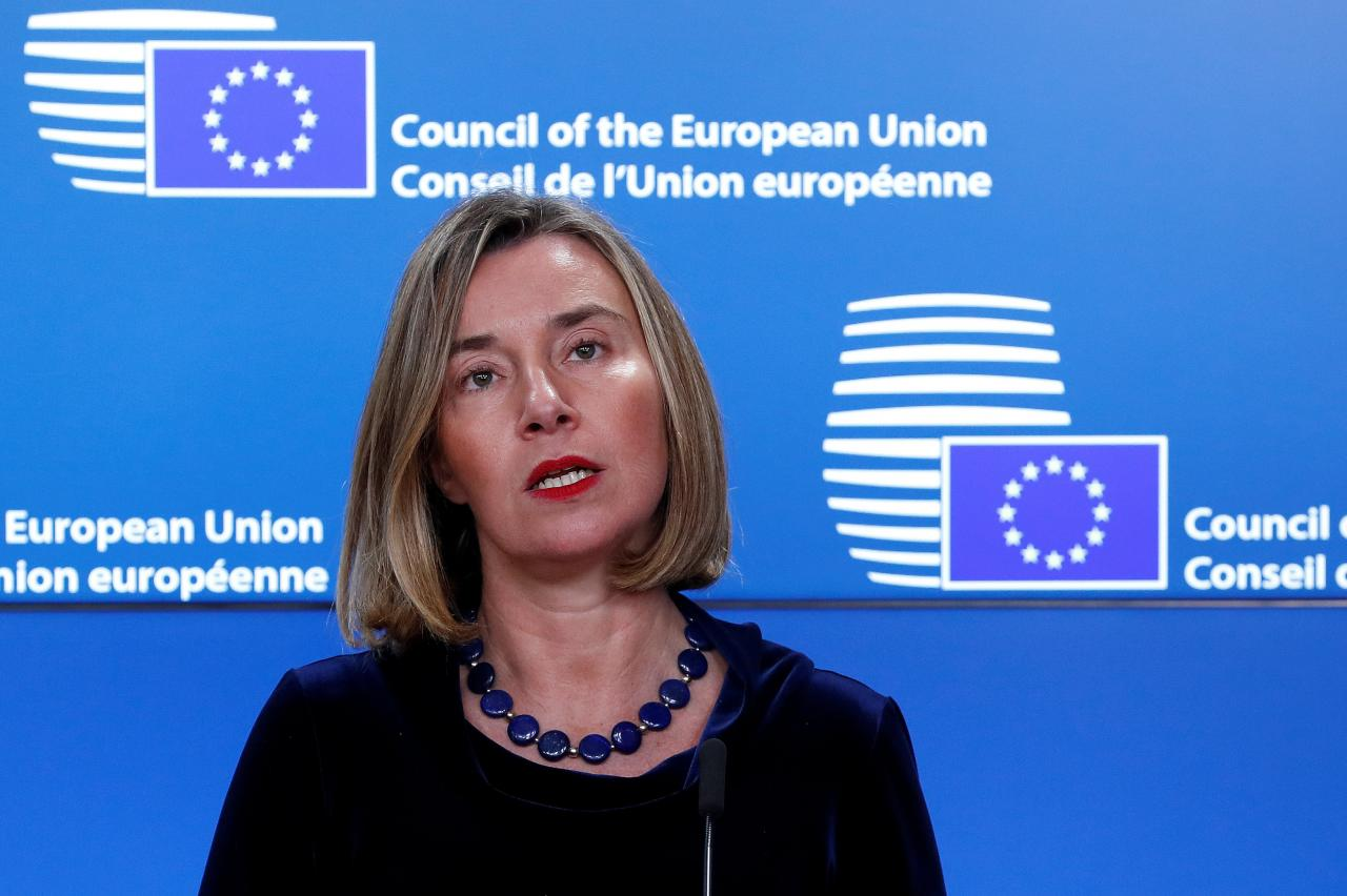 European High Representative for Foreign Affairs Mogherini gives a press statement during a meeting with Palestinian President Abbas in Brussels
