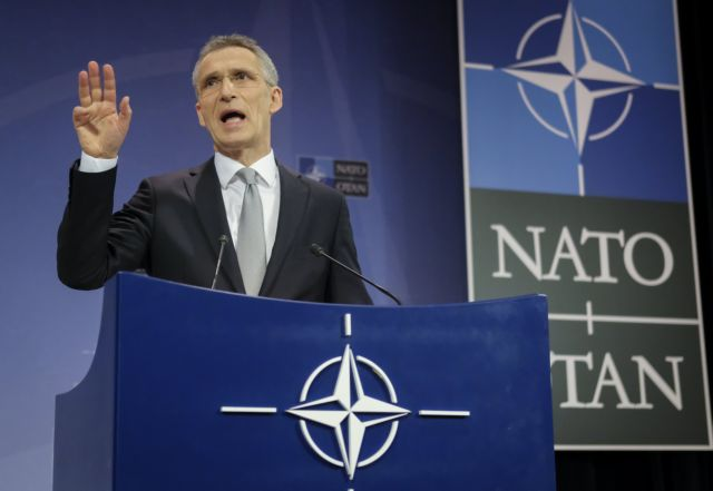 epa06527948 NATO Secretary General Jens Stoltenberg speaks during a media conference at the end of the meeting of North Atlantic Treaty Organization (NATO) Defence Ministers at the NATO headquarters in Brussels, Belgium, 15 February 2018. NATO defense ministers earlier the same day began a two-day meeting.  EPA/OLIVIER HOSLET